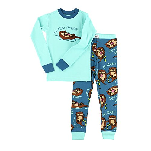 Lazy One Unisex Otterly Exhausted Kids PJ Set Long Sleeves