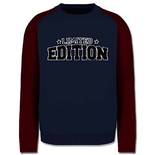 Statement Shirts - Limited Edition Vintage - Herren Baseball Pullover Navy Blau/Burgundrot