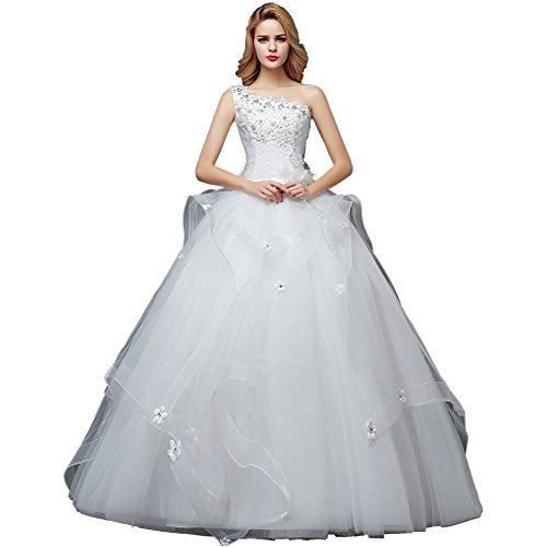 Wewind Damen Elegantes Brautkleid mit Spitzen One-Shoulder Hochzeitkleider Bodenlang Schmucksteine...