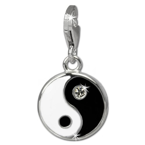 SilberDream Charm 925er Silber Emaille Anhänger s/w YinYang Zirkonia FC840S