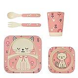 Vaisselle en bambou pour enfants 5 pièces de LOMOS « chat », écologique et colorée