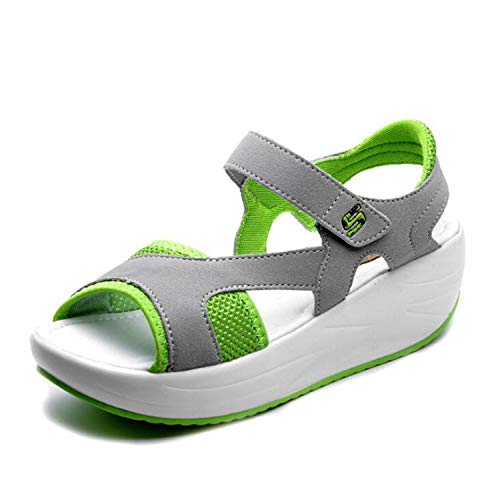 0aa55c4a384dc Light and Comfortable Summer Women Sandals 2019 New Summer Fish Mouth  Ladies Casualshoes Wedges Sandals Women Fashion Sandals Gray Green 5