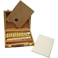 Exerz AS-HBX-5 Set de 23 Piezas Caja-Caballete de Madera Premium – Caballete de mesa 32 x 24cm / 3 paneles de lienzo 20 x 30cm / 12 pinturas de acrílico x 12ml / 4 pinceles / lápiz HD / Cuchillo de paleta de plástico / paleta de madera 20 x 30 cm