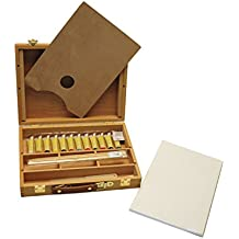 Exerz AS-HBX-5 Set de 23 Piezas Caja-Caballete de Madera Premium – Caballete de mesa 32 x 24cm / 3 paneles de lienzo 20 x 30cm / 12 pinturas de acrílico x ...