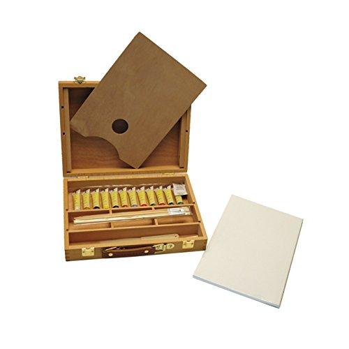 Exerz AS-HBX-5 hölzernes Premium Staffelei Box Malset 23 Teile – Tischstaffelei 32 x 24cm / 3...