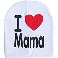 Sanzhileg Los niños Los niños Imprimen de Punto I Love Mama Baby Hat Algodón Unisex Baby Cap Letter Kids Hat por 0-3 años - Blanco