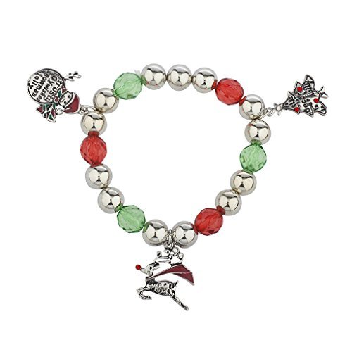 Lux accessories christmas silvertone vacanza albero di natale pupazzo di neve renna braccialetto