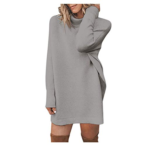Nouveau 2019 Sexy Pull Robe Femme,SANFASHION Pull Long Slim Chic Pas Cher Mode Manches Longues Tunique Robe Tricoter Col Rond Pullover Unis Loose Top Blouse Shirt Lâche Grande Taille