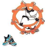 VISTARIC Par de Zapatillas Antideslizantes Spike Grips Cleats Crampons 8 Dientes para Escalada en Hielo Sobre Hielo