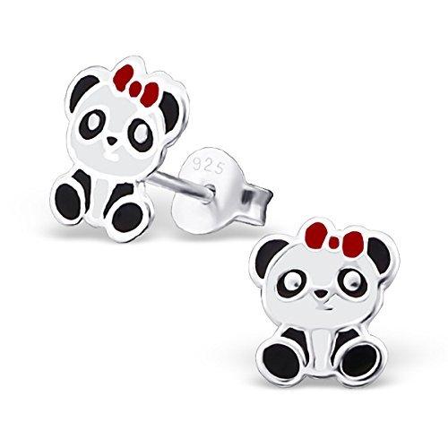 Ohrstecker, Motiv Panda mit Haarschleife, Sterlingsilber, Schwarz/Weiß / Rot, 1 Paar (Teen Paar Cute)
