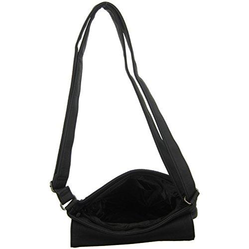Jewels of Style Damen Überschlagtasche Schwarz (Schwarz)