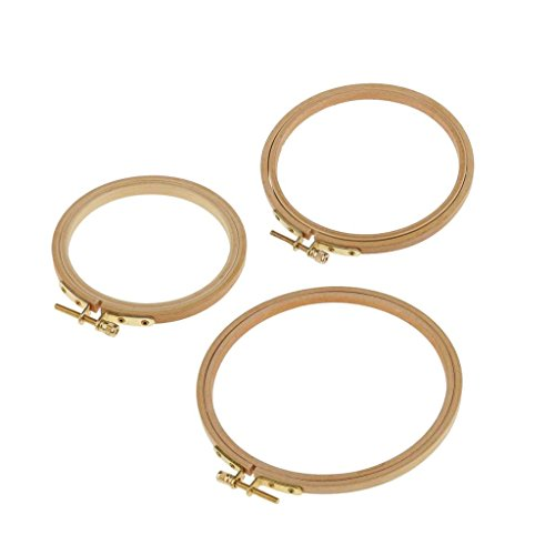 Segolike Round DIY Wooden Embroidery Hoop Kit Tapestry Circle Stitch Hoop Ring with Screw
