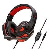 Casque Bluetooth à Réduction de Bruit Over-Ear Audio Stéréo Écouteurs Circum Auriculaire Fil avec Micro Basses Puissantes, Léger, 20h de Jeu, pour PC Smartphone TV (Rouge)