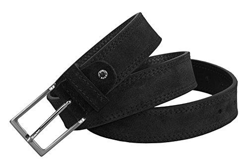 Cintura uomo RONCATO nera in pelle scamosciata impunturata lunga 110 cm R6440