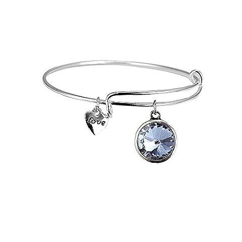 bodya extensible 12Couleur Strass Love Coeur Grand Charme Bracelet jonc Constellation Inscriptions Bracelet - Taurus