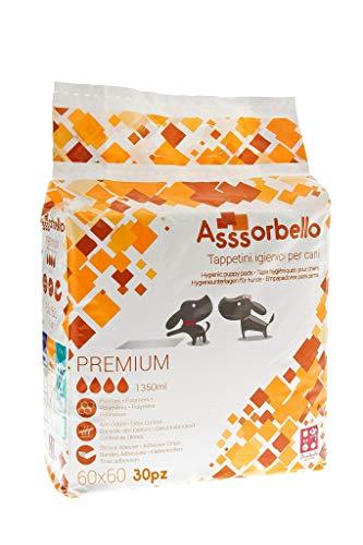 FERRIBIELLA Assorbello PREMIUM, Tappetini Igienici per Cani, 60 x 60 cm, Multicolore, 30 pezzi