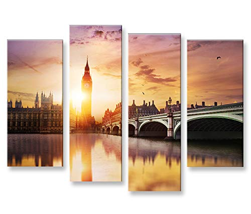 islandburner Bild Bilder auf Leinwand London V5 Big Ben Tower Bridge 4er XXL Poster Leinwandbild Wandbild Dekoartikel Wohnzimmer Marke