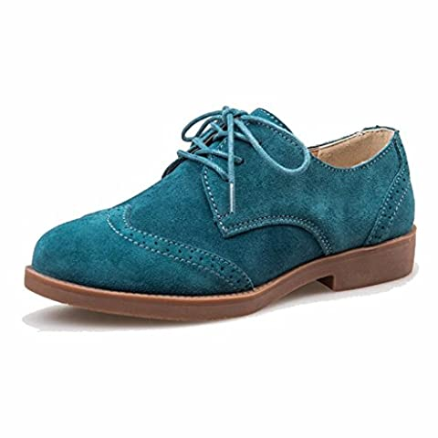 Moonwalker Women's Suede Leather Oxfords Brogue Shoes (4.5 UK 37