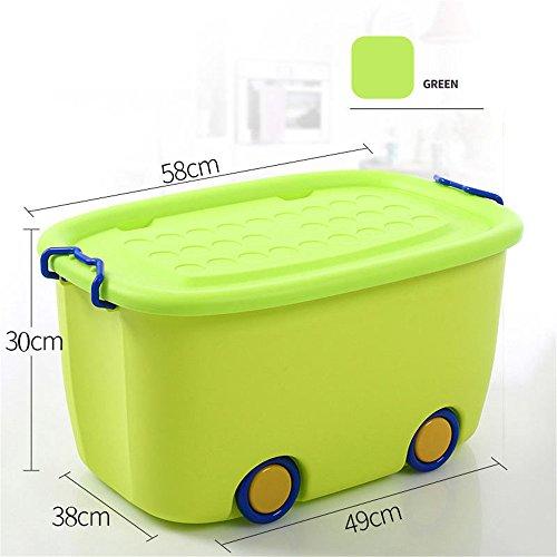 Sumferkyh Aufbewahrungsbox mit Deckel große Plastikspielzeug Kleidung Cartoon Box Koffer (Farbe : Grün)
