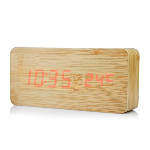 GAOHL Imitation bois LED en bois horloge luminosité contrôle Dual Power Supply Sound Control 150 * 40 * 70 mm , 2