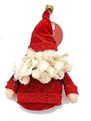 Idea Regalo - Appendino babbo natale peluche rosso per decorazioni natalizie addobbi misura 14 cm confezione 1 pezzo