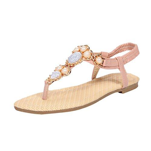 MissSaSa Damen flach Zehentrenner Knöchelriemchen Sandalen mit Perlen und Künstliche Edelsteine modern Schnalle Sandalen Pink
