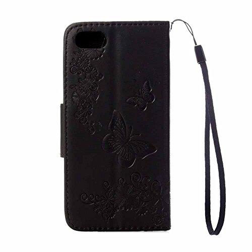 iPhone 8 Plus Custodia, COOSTOREEU Copertura della cassa del basamento del supporto del raccoglitore di cuoio dellunità di elaborazione della farfalle per Apple iPhone 8 Plus,Rosa Nero