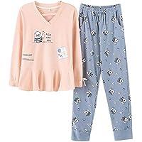 DUKUNKUN Ropa De Casa Pijama Volantes Conjunto De Algodón De Manga Larga Pantalones Elásticos De La Cintura-XL