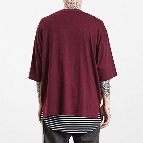 Honghu Uomo OVER Basic Cottone T-Shirt Maglietta Rosso