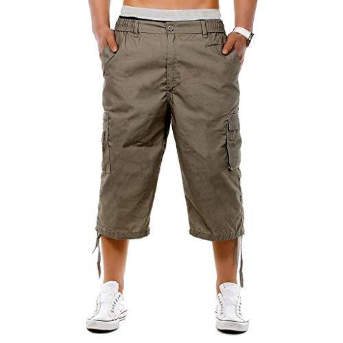 r Bermuda Shorts Herren Sport Shorts Freizeithose Kurze Hosen 3/4 Karierte Cargo Shorts Baumwolle 4XL ()