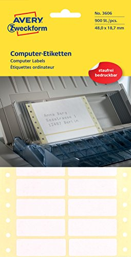 AVERY Zweckform 3606 Computer-Etiketten (Papier matt, 900 Etiketten, 48,2 x 18,7 mm) 1 Pack weiß