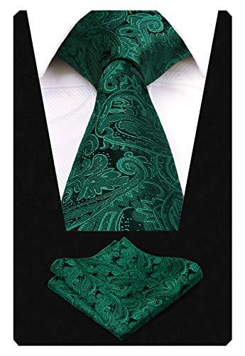 Alizeal Paisley Flor-Juego de Corbata y Pañuelo para Hombre Verde Oscuro