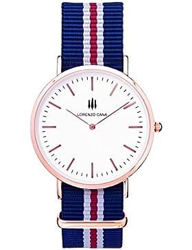 LORENZO CANA Luxus Damen Armbanduhr Schweizer Uhrwerk vergoldet Saphirglas 40 mm Durchmesser Edelstahl Nato Armband...