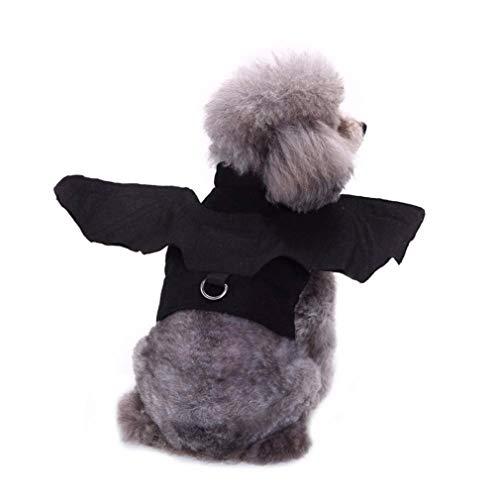 Halloween Hund Fledermausflügel Kostüme Geschirr Outfits Hund Cosplay Kleidung für kleine Hunde Katzen,S (Geschirr Hunde Kostüm)