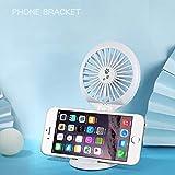 Ventilatore da Ping Pong da Pipistrello Portatile Portatelefono Portatile da Esterno, Simpatico Ventilatore di Ricarica USB (Color : Bianca)