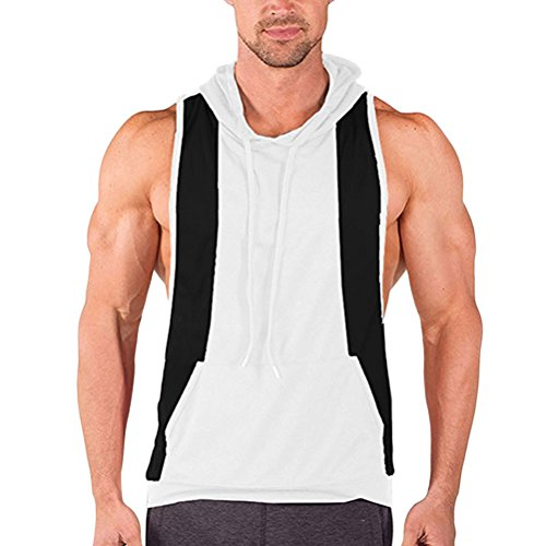 Zhuhaitf Alle Sport Mens Sleeveless Sports Vest Hoodie T-Shirt Gym Clothing with Pockets Father Gift White