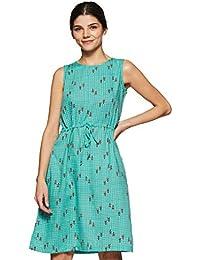 global desi Women's A-Line Knee-Long Dress (EC18G281DRPSAQUAL_Aqua_L)