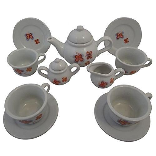 Preisvergleich Produktbild Puppen-Teeservice | Kinder-Kaffeeservice aus Porzellan | Schmetterlings-Design | mit Kanne, Tassen, Teller, Zuckerdose udn Milchkännchen |Holzspielzeug-Peitz