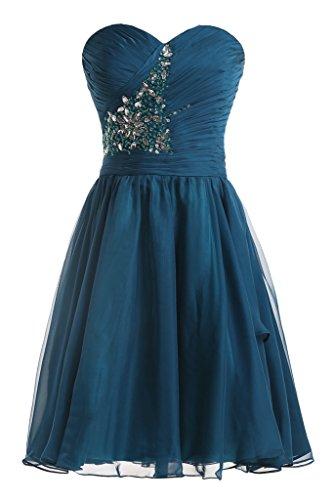 Sunvary Suess Neu 2013 Herzform Chiffon Steine Paillette Abendkleid Partykleid Inkblau