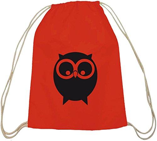 Shirtstreet24, EULE, Owl Natur Tiere Baumwoll natur Turnbeutel Rucksack Sport Beutel Rot Natur