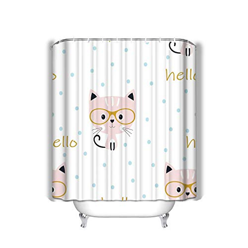 baishengjidianshebei Beach Shower Curtain Pattern Cat Glasses Sweet Background Blue Circles Cute Cartoon Kitty Prints Lettering Hello Fabric Bathroom Decor 60 X 72 inch