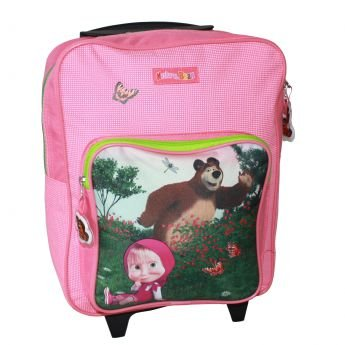 Macha et l'ours Masha and the Bear à dos à roulettes Trolley Mallette Sac à dos Valise pour enfant 35 x 28 x 11 cm + compartiment avant : 22 x 22 x 3 cm rose
