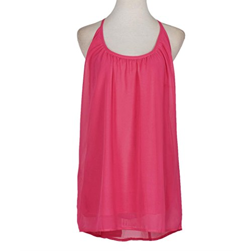 Robe, Tonsee Femmes Spaghetti Strap Hollow été robe en mousseline de plage courte Rose vif