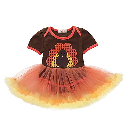 Infant Kleinkind Baby Mädchen Truthahn Thanksgiving Day Gaze Tutu Kleid Venmo Outfits Tuch...