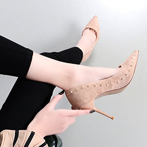 sexy the rivet hundred pointed fine womens with mouth spring with show new 9Cm high thin version shoes shoes Beige of KHSKX shallow Korean tU8qnz