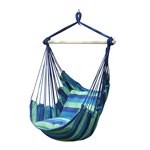 WElinks Padded Soft Cushioned Hammock Swing Chair, Hanging Rope Hammock Chair Porch Swing Seat, Large Wide Seat Hammock Net Chair, Cotton Portable Rope Leisure Swing Chair with 2 Seat Cushions for Indoor, Outdoor, Garden, Yard, Camping