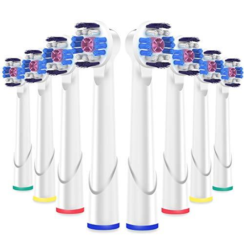 White Zahnbürste (ITECHNIK 3D White Aufsätz für Oral B Zahnbürste Elektrische, kompatibel mit Braun Oralb Vitality, Pro Health, TriZone, Advance Power, Professional Care, Aufsteckbürsten 8er)