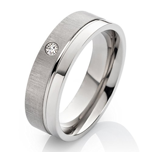 Ehering Verlobungsring Trauring aus Titan 6mm mit Zirkonia und Ringe Gravur TDE7