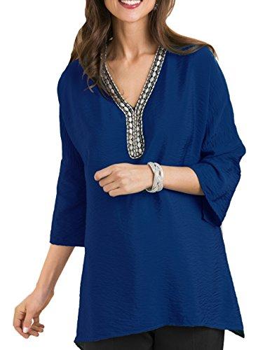 TopsandDresses Damen Tunika Bluse Blau