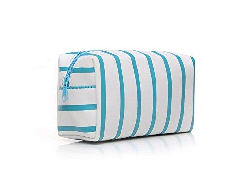 Blau Gestreifte Tote (HOYOFO gestreifte Make-Up-Tasche, Leder, Kosmetiktasche für Damen)